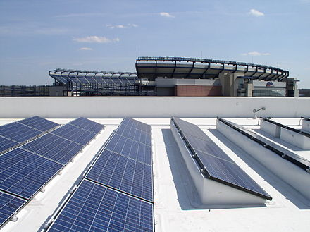 2009 Energy Project Award Winning 525 kilowatt BIPV CoolPly system on the Patriot Place Complex Adjacent to the Gillette Stadium in Foxborough. The Solar Project was built, and is owned and operated by Constellation Energy. Solar cell panels on roof Gillette Stadium 2010.jpg