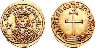 Theophilos (emperor) - The image of Theophilos on a contemporary gold solidus