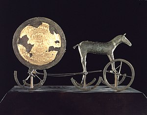 History of Denmark - The famous Trundholm sun chariot (called Solvognen in Danish), a sculpture of the sun pulled by a mare. Scholars have dated it to some time in the 15th century BC and believe that it illustrates an important concept expressed in Nordic Bronze Age mythology.