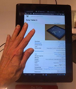 Sony Tablet S - Displaying its own Wikipedia page