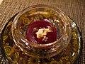 Soupe de betterave rafraîchie avec crème fraîche et fleur de coriandre par Joel Rebuchon.jpg