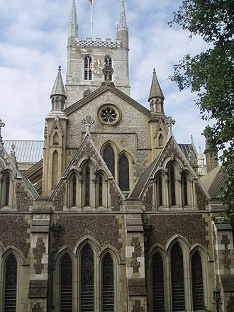 Southwark Cathedral - The tower and east end of the Cathedral, restored by George Gwilt the Younger in the 19th century