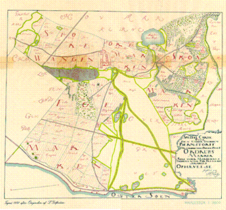 Ordrup - The map used when the land was divided among the individual farmers in 1765