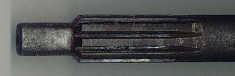 Spline (mechanical) - A spline on the end of a manual transmission input shaft