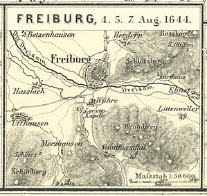 Battle of Freiburg - Map of the battle location.