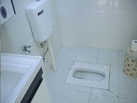 Porcelain squat toilet, with water tank for flushing (Wuhan, China)
