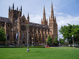 St Mary's Cathedral, is the cathedral church of the Roman Catholic Archdiocese of Sydney. St Mary's Cathedral - panoramio.jpg
