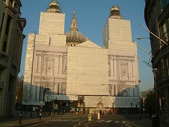 Architectural conservation - St Paul's Cathedral, London, clad for refurbishment — in this case, cleaning the exterior.