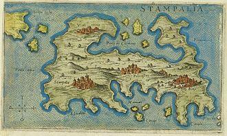 Astypalaia - Map of Astypalaia by Giacomo Franco (1597).