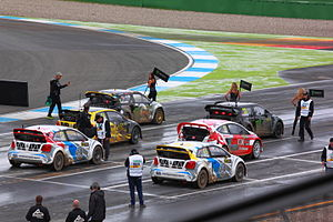 FIA World Rallycross Championship - Cars line up on the grid before a Semi-Final