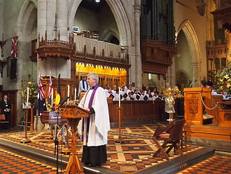 John Bannon - The Dean of St Peter's Cathedral, the Very Reverend Frank Nelson, officiating at Bannon's state funeral.