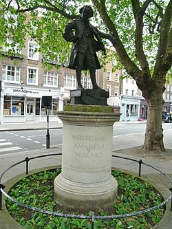 Statue of Mozart, Orange Square SW1.JPG