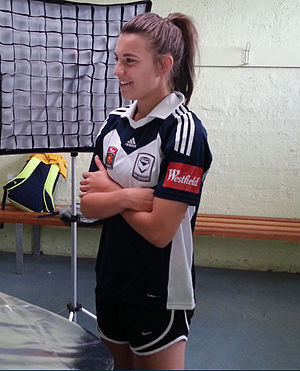 Steph Catley - Catley posing for a photograph with Melbourne Victory