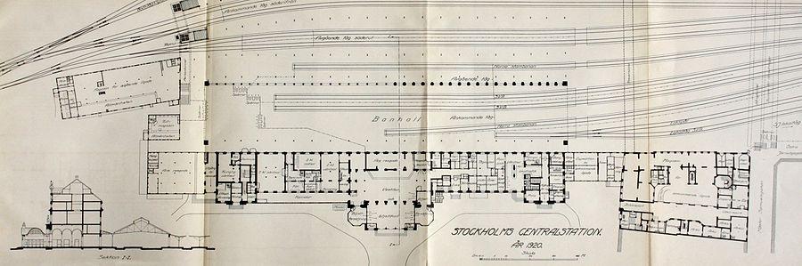 En plantegning fra 1920 viser bygninger og sporområder straks inden den store ombgygning i 1927.