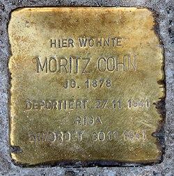 Photo of Moritz Cohn brass plaque