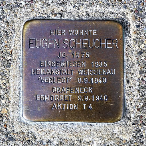 Stolperstein für Eugen Scheucher, Aachener Strasse 38, Bad Cannstatt, Stuttgart