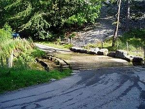 Eglwyseg - Ford across the river at World's End, beneath Craig y Forwyn