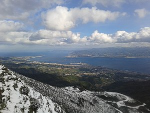 Birdwatching - The Strait of Messina, Sicily, a classic migration bottleneck, seen from the Peloritani mountains