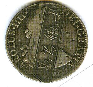 Countermark - A silver coin of Charles IV of Spain, countermarked for local use in Sumatra