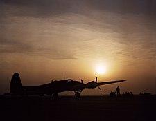 Sunset silhouette of flying fortress, Langley Field, VA 1a35090u 1a35090u edit.jpg