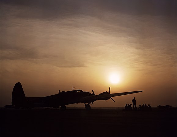Sunset silhouette of flying fortress, Langley Field, VA 1a35090u 1a35090u edit.jpg