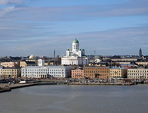 Port of Helsinki and the Helsinki Cathedral in March.