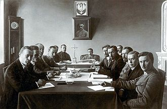 Suwałki Agreement - Polish (left) and Lithuanian (right) delegates at the negotiation table during the Suwałki Conference