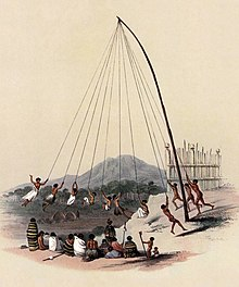 Early 19th century coloured drawing showing Maori children swinging from long ropes coming from the top of a high pole while a group of adults watches them