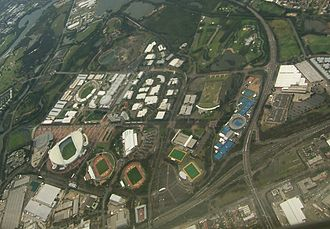 Homebush Street Circuit - Aerial image of Sydney Olympic Park, including the circuit, looking north