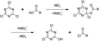 Cyanuric chloride - Image: Synthesis of acyl chlorides with cyanuric chloride