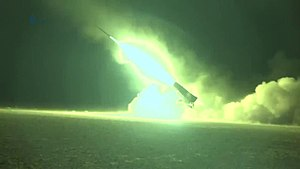 Syrian Desert campaign (May–July 2017) - A Syrian rebel BM-21 Grad launcher launching rockets at Syrian Army forces in the Syrian Desert.