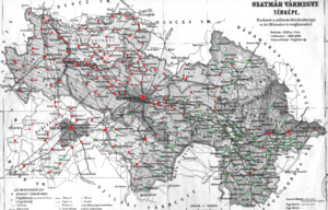 Szatmár County - Ethnic map of the county with data of the 1910 census (see the key in the description).