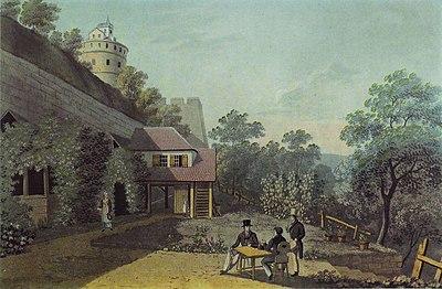 Tübingen, Gartenwirtschaft auf dem Schloss, um 1825.JPG