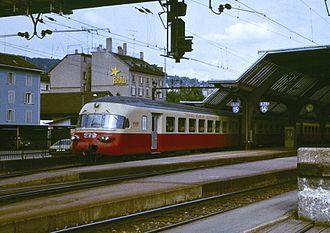 SBB-CFF-FFS RAe TEE II - An RAe TEE II set running as the Trans Europ Express Iris in 1979, seen departing Zürich for Brussels