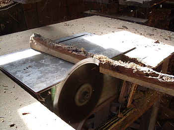 A rudimentary table saw