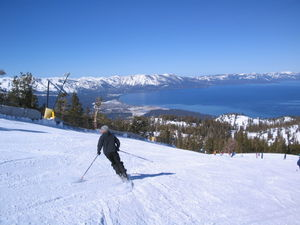 Ski slopes overlooking Lake Tahoe