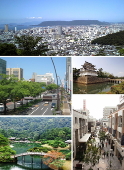 From top left: Central Takamatsu, Chūō dōri street, Takamatsu Castle, Marugame-machi shopping mall, Ritsurin Garden