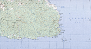 Topographical map of the Huon Peninsula and Tami Islands, showing the distance between Finschhafen and the Islands, and some of its features.