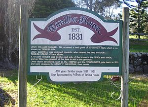 "Tanilba Bay, New South Wales - Information sign adjacent to ""The Temple"""