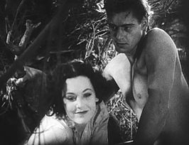 Maureen O'Sullivan (als Jane Parker) en Johnny Weissmuller (als Tarzan) in Tarzan the Ape Man