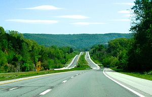Tennessee State Route 111 - SR 111 approaching the Cumberland Plateau, near Spencer
