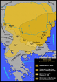 Territory of the First Bulgarian Empire - 9 th century-cs.png