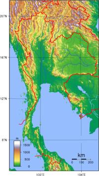 Die topografie van thailand