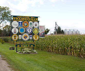 Thamesville - Thamesville welcome sign displaying various community organizations