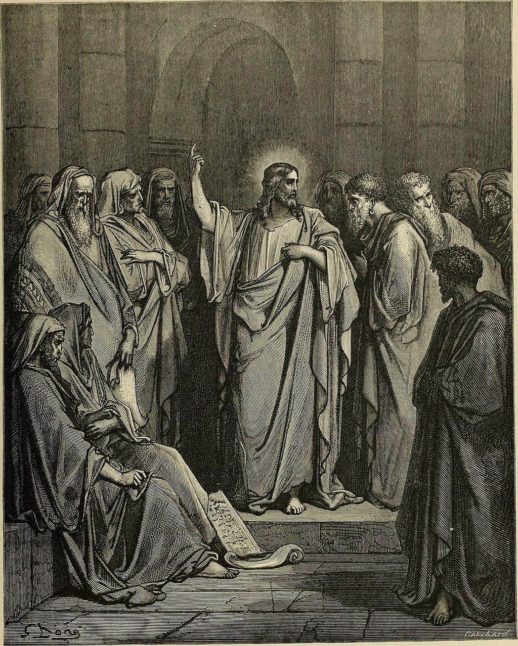 회당에서 가르치시는 예수님 (귀스타브 도레, Gustave Dore, 1865년)