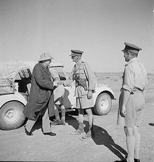 William Havelock Ramsden - Winston Churchill shaking hands with Ramsden, commanding XXX Corps, El Alamein area, 7 August 1942.