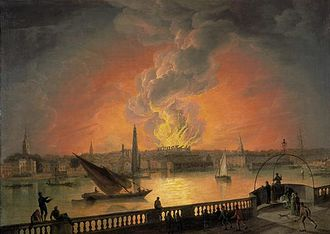 Theatre Royal, Drury Lane - After standing only 15 years, the third Drury Lane theatre building burned down on 24 February 1809. This painting from the period, artist unknown, shows the view of the fire from the Westminster Bridge.