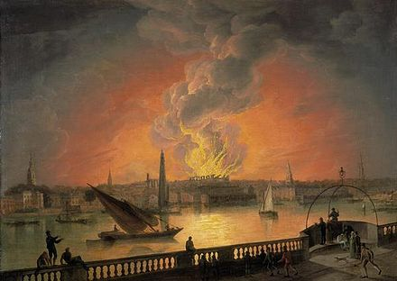 After standing only 15 years, the third Drury Lane theatre building burned down on 24 February 1809. This painting from the period, artist unknown, shows the view of the fire from the Westminster Bridge. The Burning of Drury Lane Theatre from Westminster Bridge.jpg