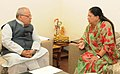 The Chief Minister of Rajasthan, Smt. Vasundhara Raje meeting the Union Minister for Micro, Small and Medium Enterprises, Shri Kalraj Mishra, in New Delhi on August 08, 2015.jpg