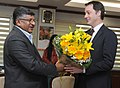 The Deputy Prime Minister of Belgium, Mr. Alexander De Croo meeting the Union Minister for Electronics & Information Technology and Law & Justice, Shri Ravi Shankar Prasad, in New Delhi on February 07, 2017.jpg